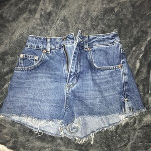 Topshop Mom High Waisted Jean Shorts